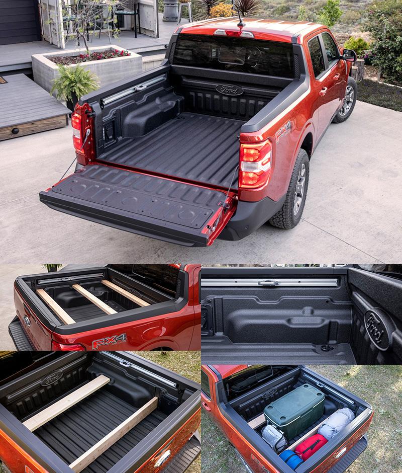 Ford還設計了FLEXBED彈性運載套件,在貨斗兩側設有凹槽與可安裝D型扣的滑軌,車主可依據自身需求,以木條或隔板,彈性規劃貨斗中上下或前後分層之運載方式。