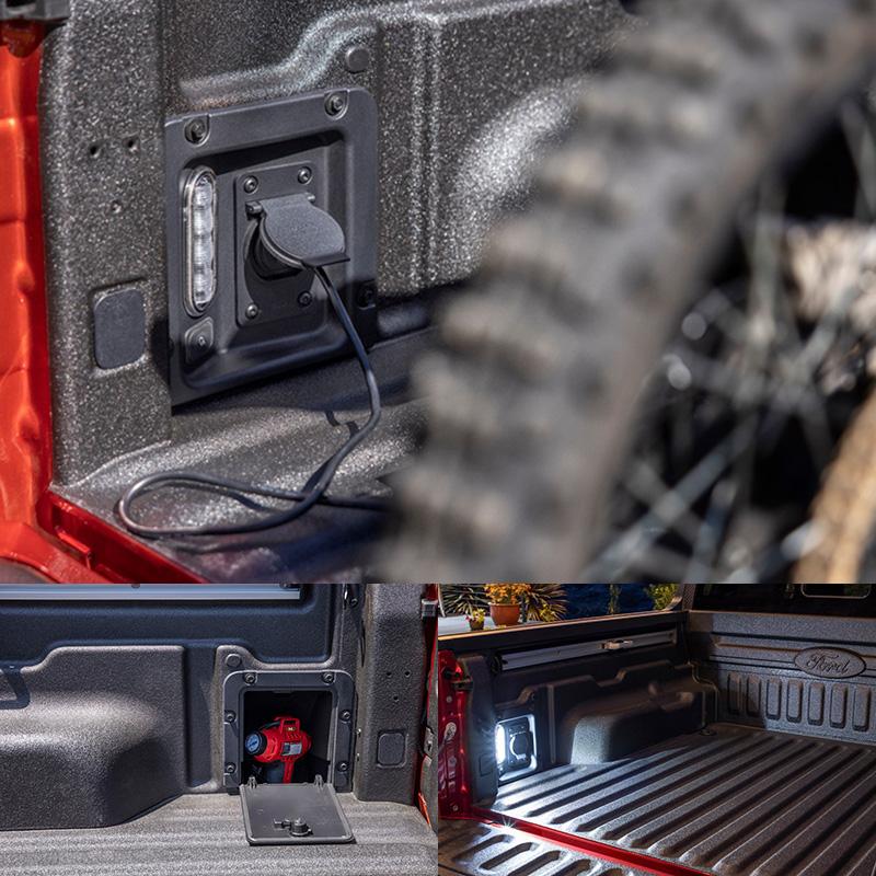貨斗側邊亦設有電源,LED照明與置物空間。