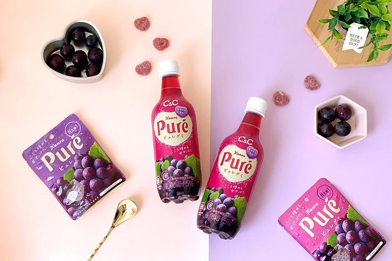 黑松C&C跨海聯名Puré軟糖推出葡萄軟糖風味氣泡飲,全台限量19萬瓶。(圖:品牌提供)