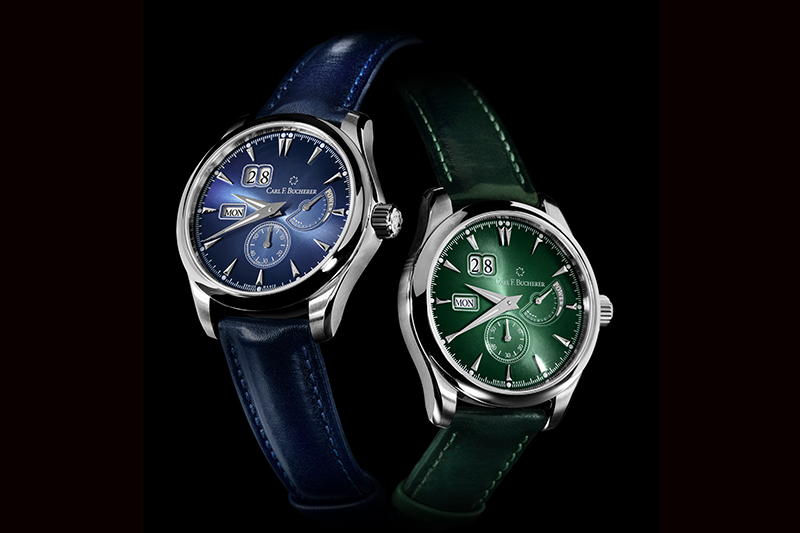 寶齊萊Manero PowerReserve夜藍、松綠馬利龍外緣動儲腕錶全球各限量188只,建議售價37萬元。(圖:品牌提供)