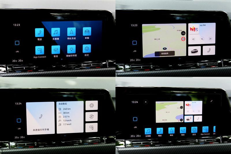 10吋中控營採MIB 3系統,具有三種頁面及功能快捷設定。