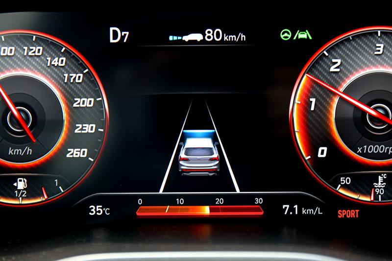 小改Santa Fe導入全速域車道維持輔助,進而擁有Level 2半自動駕駛功能。