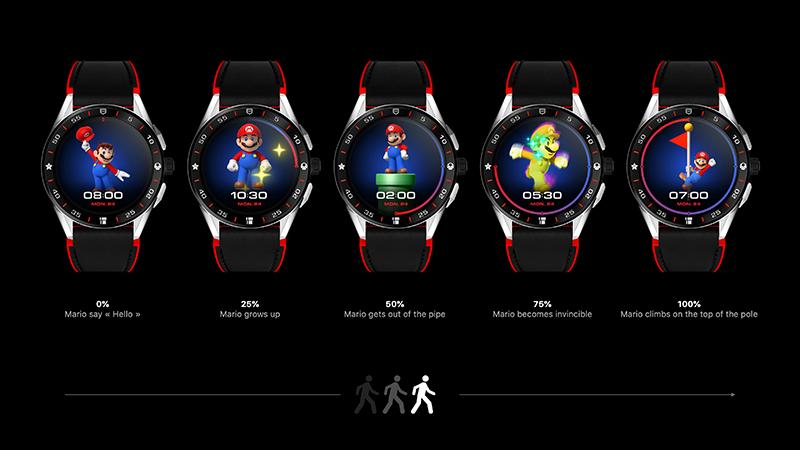TAG Heuer Connected x Super Mario 限量版智能腕錶,用戶每日運動後在每個階段都會獲得獎賞畫面。(圖:品牌提供)