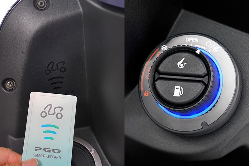 PGO Spring 首度結合 Keyless 無鑰匙系統,搭配 NFC 智慧鑰匙卡片,取代傳統鑰匙。