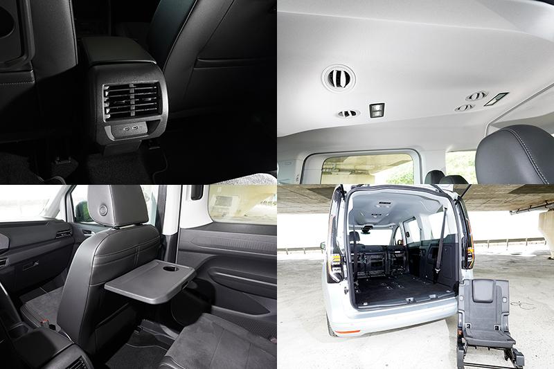 第二、三排座位都設有車頂出風口,第二排還配有雙Type C充電插座以及全車置杯架,以及前座椅背摺疊桌等配備,拆卸下的座椅也可當野餐椅使用。