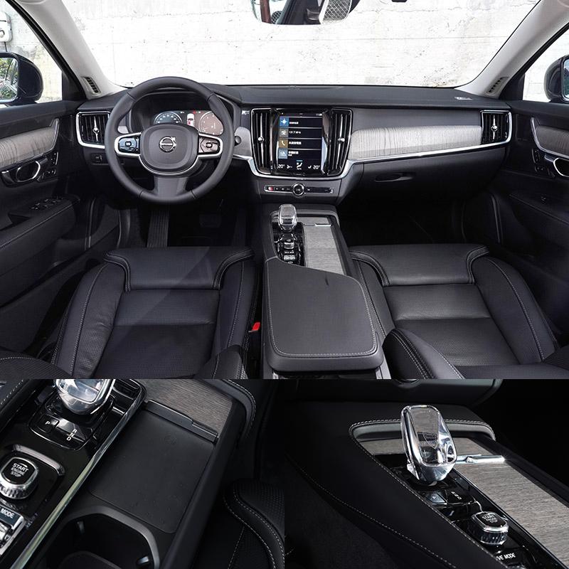 原廠 2021 年式S90前座新增手機無線充電板,Inscription車型亦標配有 Orrefors 水晶排檔頭 。