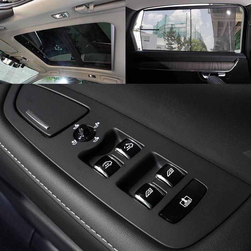 本次試駕的S90 B4 Inscription還導入了首見於 S90 的「後座尊榮智控系統」,在右後側車門扶手上,增加了一組操作按鍵,能操作副駕座椅位置、後座雙車窗、天窗及後擋遮陽簾啟閉等功能。