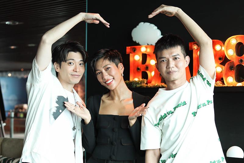【車勢星聞】電影《再說一次我願意》演員侯彥西(左起)、莫莉和直播主宥凱出席媒體茶敘。(圖:皮諾丘電影提供)