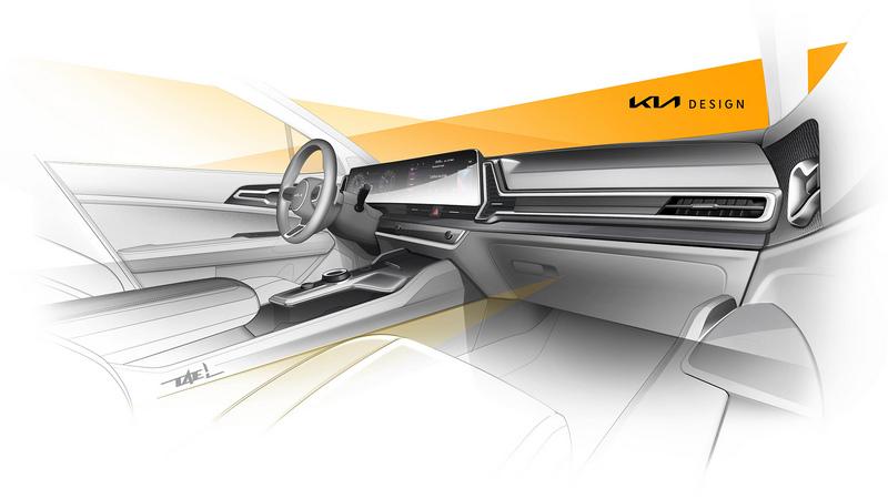 從草圖來看歐規Sportage座艙並未更動,仍配有一體式曲面螢幕。