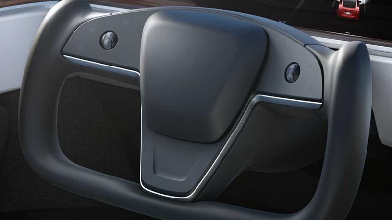 Tesla Model S方向盤造型相當獨特。