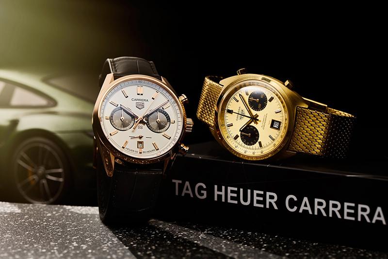 (左)TAG Heuer Carrera傑克‧豪雅生日紀念限量計時金錶,參考編號CBN2041.FC8306,建議售價NT$ 605,700 (右)  Heuer Carrera 1158,Calibre 12機芯。(圖:品牌提供)