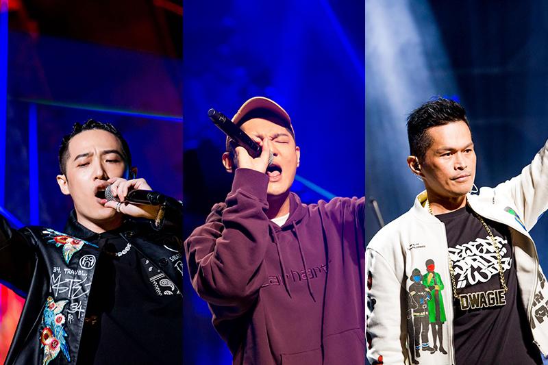 【車勢星聞】《大嘻哈時代》導師命題創作賽賽前(左起)熊仔、Leo王、大支、表演示範。(圖:三立提供)