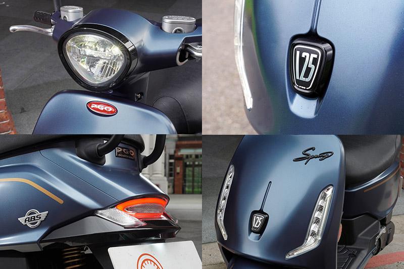倒三角形頭燈,車頭盾牌徽飾、迴力鏢造型全時定位燈是Spring 125的重要元素,但斜切鴨尾更是最大特色。