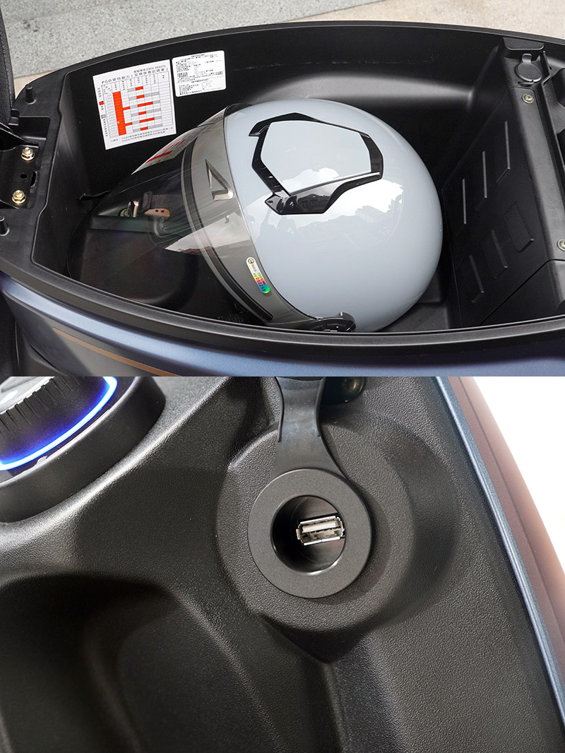 在旋鈕旁設有QC 3.0 USB 充電座,便於智慧行動裝置充電;而車廂容積則有22L,足以放置¾ 罩安全帽與大托特包。