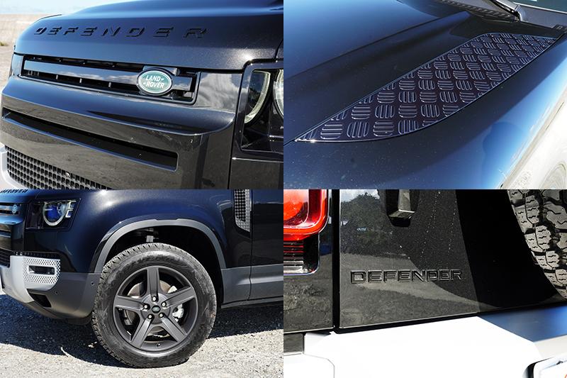 本次試駕的Defender 90 D250 S,Land Rover為它選配黑色外觀套件,在引擎蓋Defender字樣、引擎蓋飾板、水箱護罩、尾門Defender字樣都採用亮澤黑烤漆處理,搭配緞光灰色輪圈。