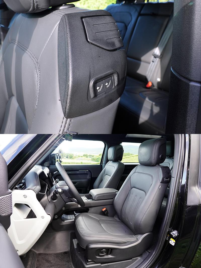 前座座椅為方便後座乘客進出除了椅背可向前翻,還附有點動前後滑移功能。