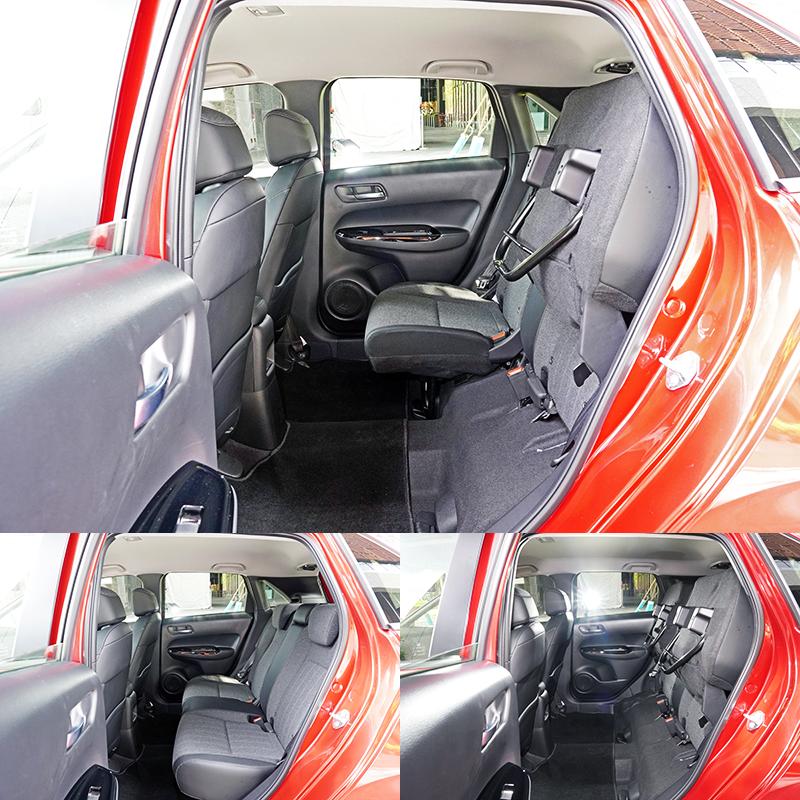 專利Ultra Seat多功能變化座椅,除了基本的椅背前翻功能,更多了後座椅墊掀起功能,可對應更多元的載物需求,仍是Fit的最大賣點之一。