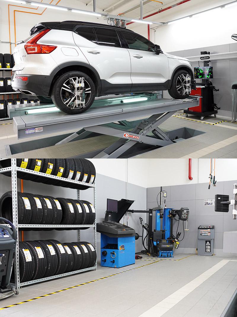 維修服務區配備全功能輪胎更換、平衡與定位工作站。