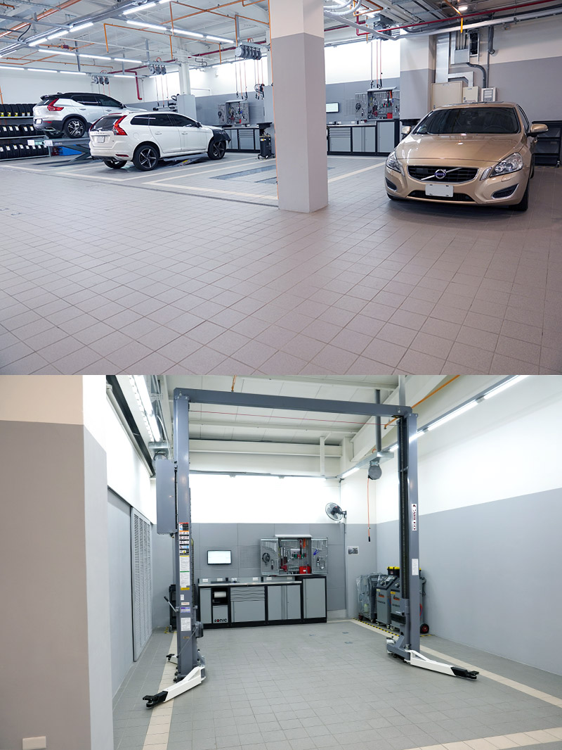 維修服務區共設有 5 個原廠標準的獨立工作位提供保修服務,而為給車主愛車最頂級的呵護