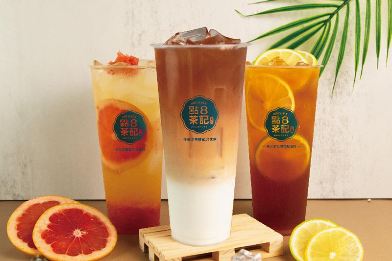 天蔥集團旗下新品牌《點8茶記》全球首店插旗南西商圈,開幕慶首3日飲料加1元多1杯。(圖:品牌提供)