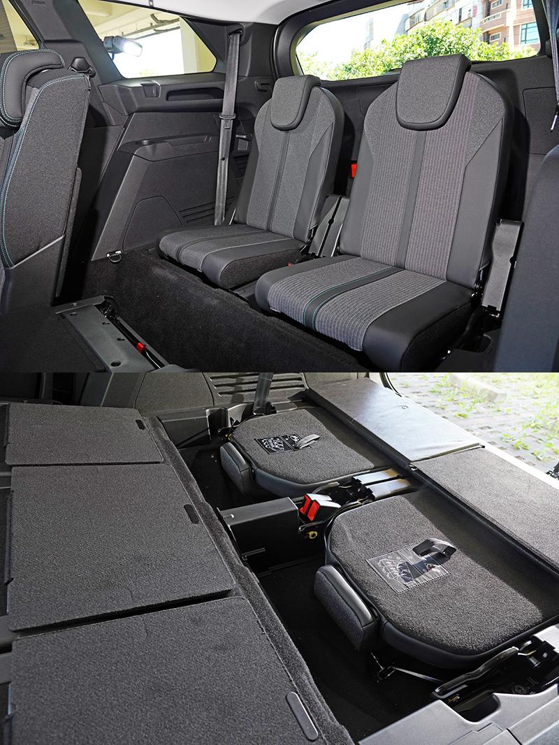 第三排座位可完全收至底板下,可在有乘載需求時在翻折出來使用。