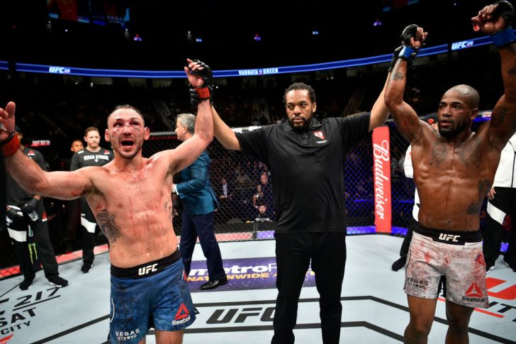 UFC 216:ランド・バンナータ vs. ボビー・グリーン【アメリカ・ネバダ州ラスベガス/2017年10月7日(Photo by Jeff Bottari/Zuffa LLC/Zuffa LLC via Getty Images)】