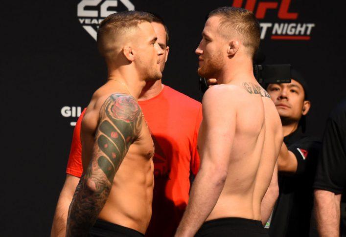 UFCファイトナイト・アリゾナ:フェイスオフに臨んだダスティン・ポワリエとジャスティン・ゲイジー【アメリカ・アリゾナ州グレンデール/2018年4月13日(Photo by Josh Hedges/Zuffa LLC/Zuffa LLC via Getty Images)】