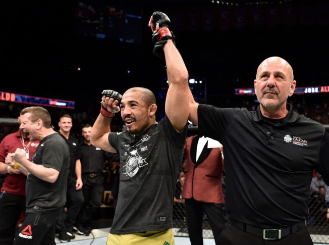 UFCファイトナイト・カルガリー:ジョゼ・アルド vs. ジェレミー・スティーブンス【カナダ・アルバータ州カルガリー/2018年7月28日(Photo by Jeff Bottari/Zuffa LLC/Zuffa LLC via Getty Images)】