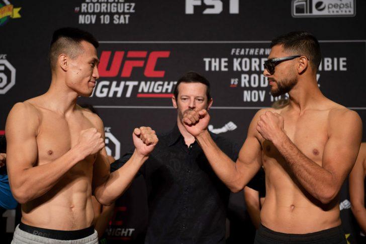UFCファイトナイト・デンバー:フェイスオフに臨んだジョン・チャンソンとヤイール・ロドリゲス【アメリカ・コロラド州デンバー/2018年11月9日(Photo by Chris Unger/Zuffa LLC/Zuffa LLC via Getty Images)】