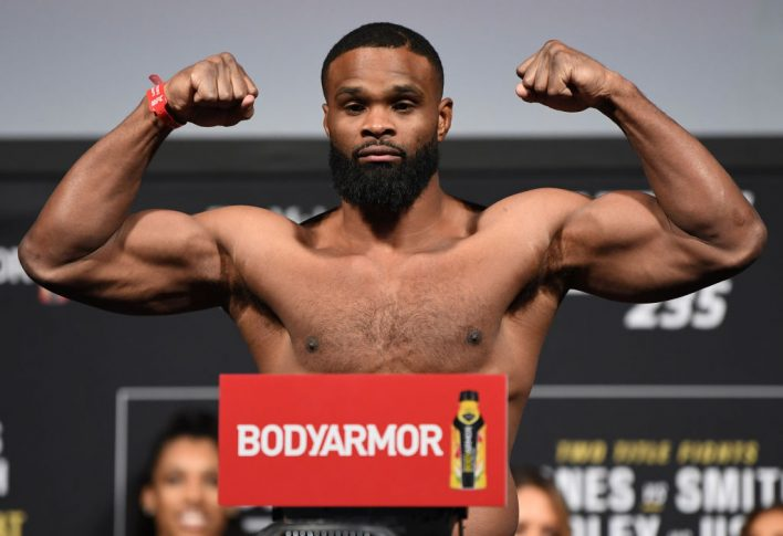 UFC 235:公式計量セレモニーに登場したタイロン・ウッドリー【アメリカ・ネバダ州ラスベガス/2019年3月1日(Photo by Jeff Bottari/Zuffa LLC/Zuffa LLC via Getty Images)】