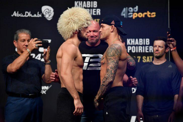 UFC 242:フェイスオフに臨んだハビブ・ヌルマゴメドフとダスティン・ポワリエ【アラブ首長国連邦・アブダビ/2019年9月6日(Photo by Jeff Bottari/Zuffa LLC/Zuffa LLC via Getty Images)】