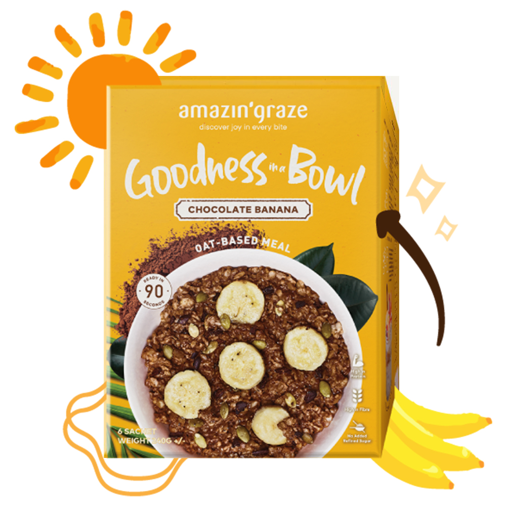 [AMAZIN' GRAZE] 沖泡式堅果穀物燕麥片 40g*6包/盒 (香蕉巧克力)