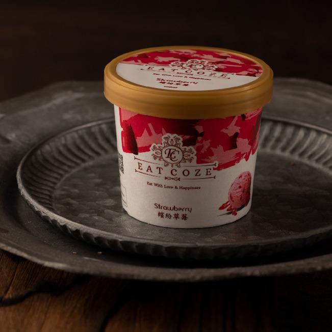[一口痴] 減糖低碳精緻盒裝冰淇淋-繽紛草莓100ML*15