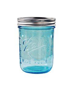 [美國Ball] 藍色玻璃梅森罐 (寬口/16oz)