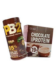 [重度可可控][Daily Boost日卜力] 運動乳清蛋白粉-特濃可可 (7包/盒)[PB2] 粉狀可可花生醬 (184g/罐)組合