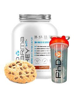 [優惠組合][英國 PhD Nutrition] 乳清蛋白粉-巧克力餅乾(2.25Kg/罐)+[英國 PhD Nutrition] 單層搖搖杯(附攪拌球)-紅