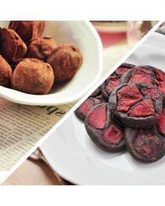 [查克派] 蛋白質巧克力 - 松露莓果巧克力球x1+草莓巧克力磚 (2包/組)