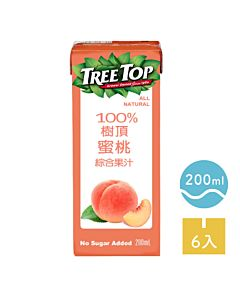 [TreeTop樹頂]  100%蜜桃綜合果汁 (200ml/罐x6罐/組)