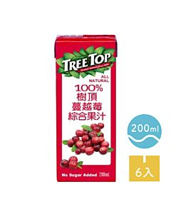 [TreeTop樹頂]  100%蔓越莓綜合果汁 (200ml/罐x6罐/組)