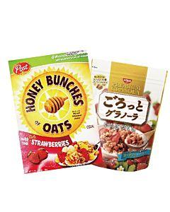 [日清 Nissin] 草莓穀物麥片(200g/包)[美國Post] 草莓蜂蜜穀物脆片 (368g/盒)組合