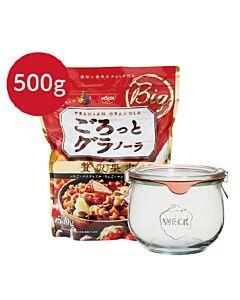 [日清Nissin]奢華楓糖水果麥片(500g/袋)+德國weck744玻璃罐組合
