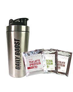[新手組合] Daily Boost不鏽鋼搖搖杯+運動乳清蛋白粉三入組