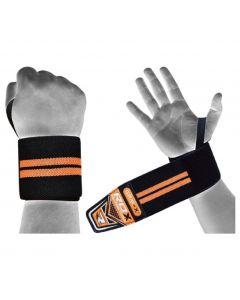 [英國 RDX] 運動護腕帶-⿊螢光橘(重訓/舉重/蹲舉/硬舉適用)
