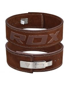 [英國RDX] 10mm全真牛皮健身快扣腰帶(重訓/舉重適用)-咖