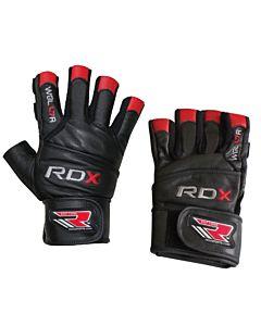 [英國 RDX] M08真⽪⽜⽪⾰頂級健⾝⼿套-⿊紅(重訓/舉重/硬舉/臥推適用)