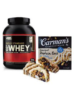 [ON] 黃金比例乳清蛋白-雙倍巧克力 (5磅/罐)+[澳洲 Carman's]莓果希臘優格蛋白質棒(5條/盒)