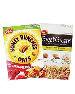 [美國Post] 草莓蜂蜜穀物脆片 (368g/盒)&[美國Post] 多層次口感吃得到!香蕉堅果穀物燕麥片 (439g/盒)精選組