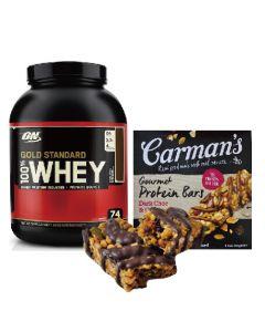 [ON] 黃金比例乳清蛋白-雙倍巧克力(5磅/罐)+[澳洲 Carman's] 黑巧克力蔓越莓蛋白質棒(5條/盒)