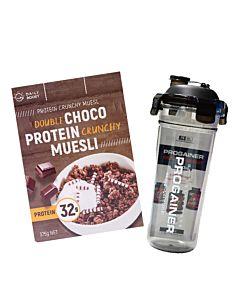 [即刻補充組][Daily Boost] 雙倍可可蛋白酥脆穀物 (375g/盒)韓國Progainer搖搖杯600ml組合