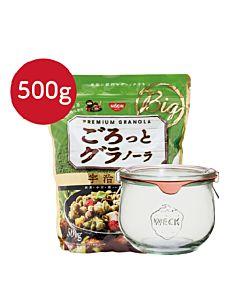 [日清Nissin]宇治抹茶麥片(500g/袋)+德國weck744玻璃罐組合